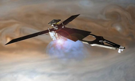 An artist's rendering of Juno during the orbital insertion