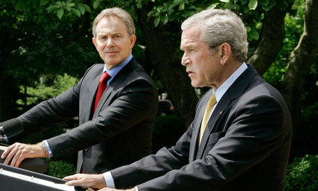 Bush and Blair speak at a joint press conference in 2007