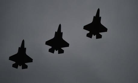 F-35A Lightning IIs fly over RAF Fairford, United Kingdom, on June 30,