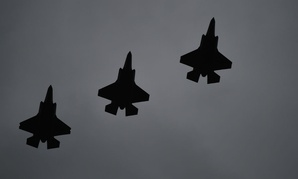 F-35A Lightning IIs fly over RAF Fairford, United Kingdom, on June 30,