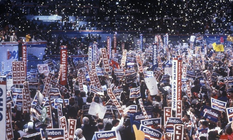 Delegates and attendees cheer for Bill Clinton at the 1992 Democratic National Convention.