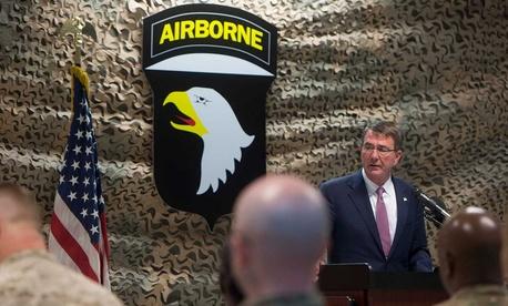 Secretary of Defense Ash Carter spoke to troops in Baghdad Monday.