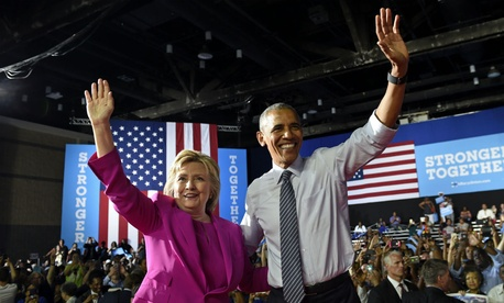 President Obama campaigns with Democratic presidential candidate Hillary Clinton in Charlotte, N.C., last week.