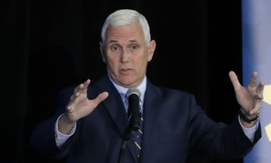 Indiana Gov. Mike Pence speaks at an innovation showcase Thursday.