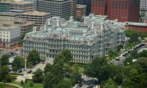 The Eisenhower Old Executive Office Building is seen from the air.