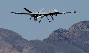 A U.S. Customs and Border Patrol drone aircraft lifts off, Wednesday, Sept 24, 2014 at Ft. Huachuca in Sierra Vista, Ariz.