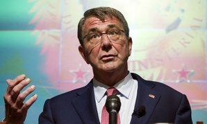 Defense Secretary Ashton Carter speaks at a news conference after the Global Coalition to Counter ISIL meeting at Andrews Air Force Base, Md.