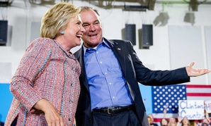 Hillary Clinton and Tim Kaine address an audience in Virginia on July 15.