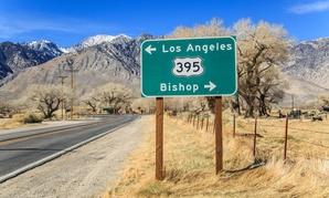 A crossroads in Olancha, California