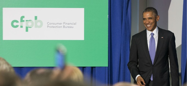 President Obama delivers remarks at the Consumer Financial Protection Bureau in 2014.