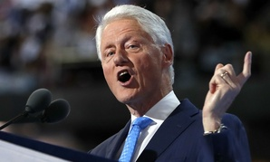 Former president Bill Clinton speaks at the Democratic National Convention.