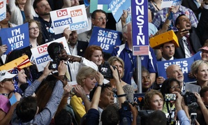 The Wisconsin delegation at the Democratic National Convention in Philadelphia. Federal employee advocates expected more support from the party.