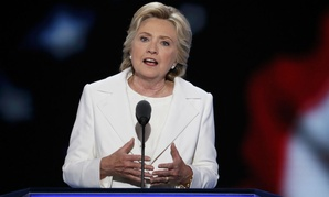 Democratic presidential nominee Hillary Clinton delivers her acceptance speech.