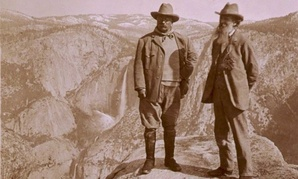 Theodore Roosevelt with conservationist John Muir at Yosemite in 1906.