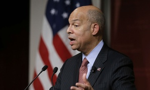 Homeland Security Secretary Jeh Johnson addresses an audience during a forum at John F. Kennedy School of Government in Cambridge, Mass., in March.