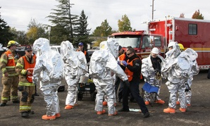 Eugene fire departments & emergency teams conduct disaster drills in Oregon in 2011.