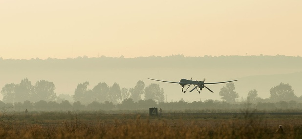 An MQ-1 Predator unmanned aerial vehicle attached to the 324th Expeditionary Reconnaissance Squadron takes off in 2013.