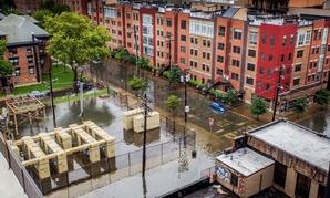 Flooding in Hoboken, New Jersey.