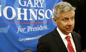 Libertarian presidential candidate Gary Johnson speaks at the National Libertarian Party Convention in Orlando, Fla., in May.