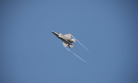 A 33rd Fighter Wing F-35A flies over Volk Field, Wis. during Northern Lightning on Aug. 22.