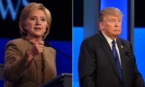 Left: Clinton speaks at a primary debate in December. Right: Trump listens at a primary debate in February.