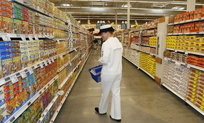 U.S. Navy petty officer Mary Crowe shops at the commissary at Naval Station San Diego.