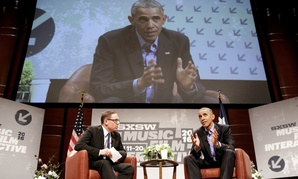 President Barack Obama participates in a discussion and Q&A with Evan Smith, CEO and Editor-in-Chief of the Texas Tribune, during the South by Southwest Interactive Festival at the Long Center for Performing Arts in Austin, Texas, March 11, 2016.