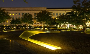 Lights illuminate memorial benches at the National 9/11 Pentagon Memorial Aug. 22, 2016