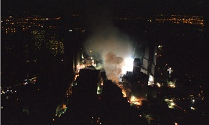 The World Trade Center rescue site in New York City is seen the evening of Friday, Sept. 14, 2001, from Marine One.