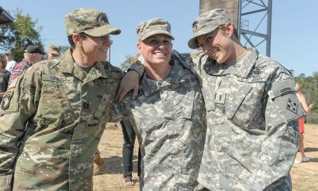U.S. Army Capt. Kristen Griest (left), Maj. Lisa Jaster (center) and 1st Lt. Shaye Haver, following Jaster's graduation from Ranger School at Fort Benning, Ga., in 2015.