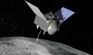 Artist's conception of the OSIRIS-REx spacecraft at Bennu asteroid.