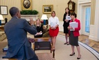 Obama meets with staffers in 2013. From left: Kathryn Ruemmler, Counsel to the President; Communications Director Jennifer Palmieri; Katie Beirne Fallon, Deputy Director of Communications; and Cecilia Muñoz, Director of the Domestic Policy Council.