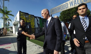 Florida Gov. Rick Scott after a news conference in Wynwood on Monday, Sept. 19, 2016.