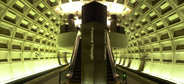 Inside the Federal Triangle Metro station in Washington, a major commuter hub for government employees.