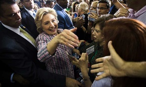 Clinton greets Florida voters in Coral Springs in September.