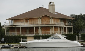 A house in Isle of Palms, S.C., is boarded up in preparation for the storm.