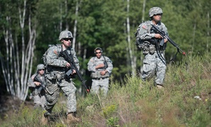 Soldiers conduct patrols during a Situational Training Exercise (STX) as part of the Basic Leaders Training Course in Vermont in August.