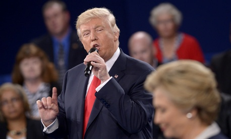 Donald Trump and Hillary Clinton square off at the second presidential debate in St. Louis Sunday.
