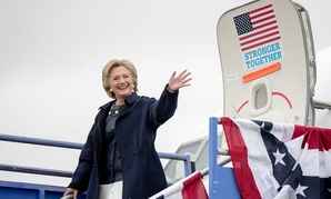 Clinton arrives at Pueblo Memorial Airport in Colorado Wednesday.