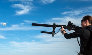The DroneDefender from Battelle can interrupt a drone's control link at 400 meters.