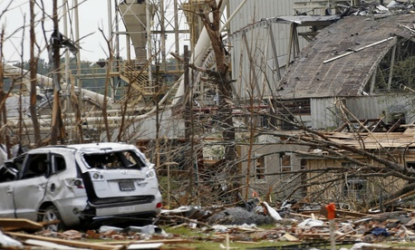 Damage from the April 2014 tornado that hit Louisville, Miss.
