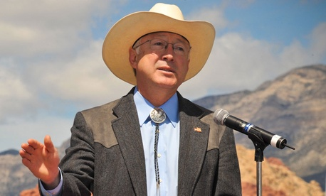 Ken Salazar speaks in Nevada in 2009.