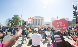 Pro-immigration groups rally in front of the Supreme Court in April.