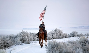Cowboy Dwane Ehmer, of Irrigon Ore., a supporter of the group occupying the Malheur National Wildlife Refuge, rides his horse at Malheur National Wildlife Refuge in January.