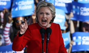Democratic presidential nominee Hillary Clinton speaks at a rally in Pittsburgh Monday.