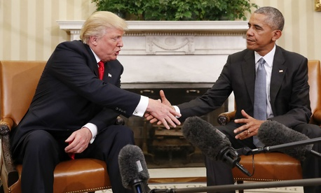 President-Elect Donald Trump and President Obama shake hands after meeting at the White House Thursday.