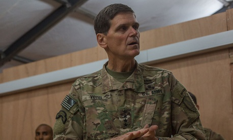 U.S. Army Gen. Joseph Votel, Commander of the United States Central Command, thanks U.S. and coalition forces at Qayyarah West Airfield, Iraq, Oct. 25, 2016.