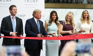 Trump and his family cut the ribbon during the grand opening of Trump International Hotel in Washington in October.