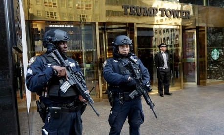 The Secret Service is working with New York City police on a plan to keep Trump secure when he stays in his Manhattan home.