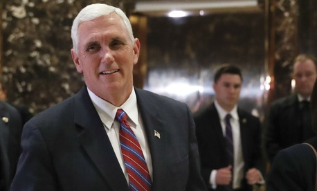 Vice President-elect Mike Pence leaves Trump Tower on Tuesday.